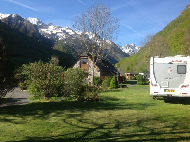 Pyrenees National Park, Estaing, Mid-Pyrenees near Lourdes in May 2019 first va to arrive for the Dethleffs Owners Club UK Rally.. Esprit I 7010-2 2013
